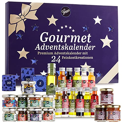 Gepp's Premium Adventskalender für Feinschmecker I 24 ausgefallene Gewürze, Dips & französische Konfitüren sowie Öl & Essig Spezialitäten I Kulinarischer Weihnachtskalender für Männer & Frauen(202108)