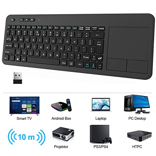 Wireless Touchpad Keyboard, RATEL Ultra-Slim 2.4G Wireless Keyboard with Easy Media Control and Built-in Large Size Multi-Touch Trackpad for Smart TV HTPC PC Tablet Google Laptop Windows Android