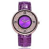 CXJC Reloj de Cuarzo de Personalidad de Moda. Reloj de decoración de Diamantes de imitación de Cuero de imitación. Dial de aleación Redonda de 40 mm. (Color : Re)