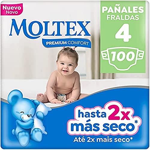Moltex Premium Comfort Pañales Talla 4 (9-15 Kg) - Pañales, White, Talla 4, 100 Unidad