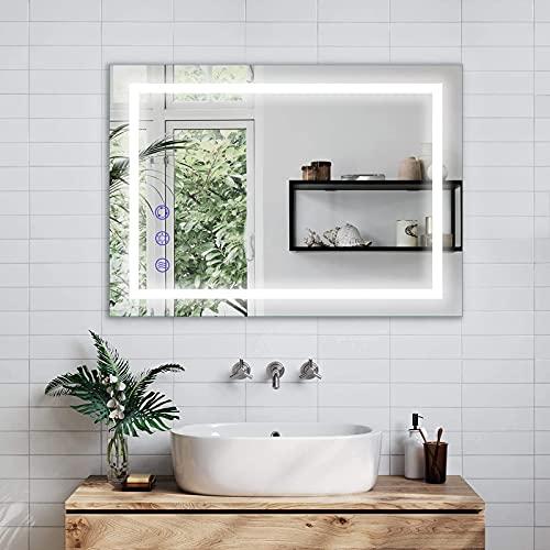 BONADE LED Badspiegel mit Seleuchtung 50x70cm, Wandspiegel Badezimmerspiegel mit Touch-Schalter und Beschlagfrei Funktion, Badspiegel mit Licht Dimmbar Warmweiß / Neutralweiß / Kaltweiß IP65