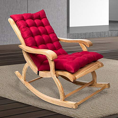 Relax love Rocking Chair Cushion 47'' x 20'' Non-Slip Sun Lounger Cushions High-Backed Pad Thick Extra Large Relaxer Seat Mat Garden Deck Chair Cushion with Rubber Band and Buckle (Wine Red)