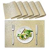 ZB ZealBoom Edles Platzset Abwischbar 6 Pack PVC, 45x30cm Premium Tischset rutschfest Abgrifffeste Abwaschbar Hitzebeständig Platzdeckchen für Restaurant Zuhause Küche Speisetisch, Gold