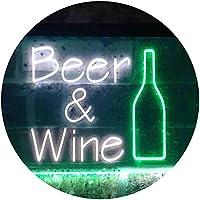 Beer Wine Bottom Bar Club Garage Dual Color LED看板 ネオンプレート サイン 標識 白色 + 緑色 400 x 300mm st6s43-i3391-wg