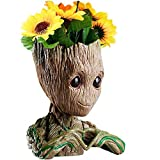 B-Best Guardians of The Galaxy Groot Pen Pot Newest Version Tree Man Pens Holder or Flower Pot with Drainage Hole Perfect for a Tiny Succulents Plants and Best Christmas Gift Idea 6'