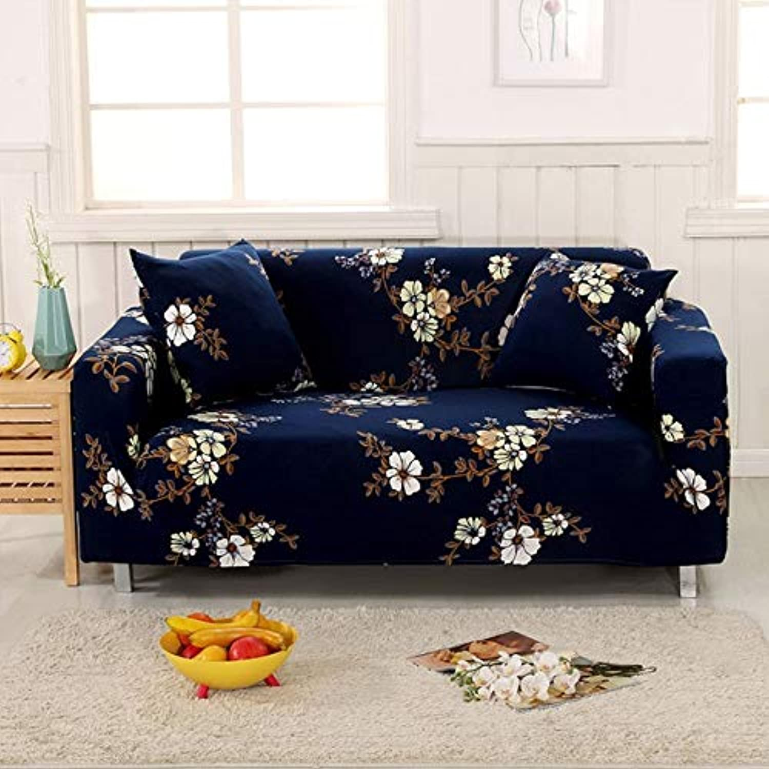 Farmerly 1pcs Flower Leaf Pattern Soft Stretch Sofa Cover Home Decor Spandex Furniture Covers Decoration Covering Hotel Slipcover 58329   A, Two seat