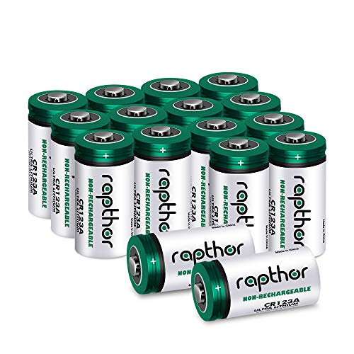 CR123A 3V Lithium Battery [1650mAh 16 Pack] UL Certified Rapthor Non-Rechargeable PTC Protected High-Capacity Lithium Batteries for Arlo Camera Security System, Polaroid, Flashlight, Microphones