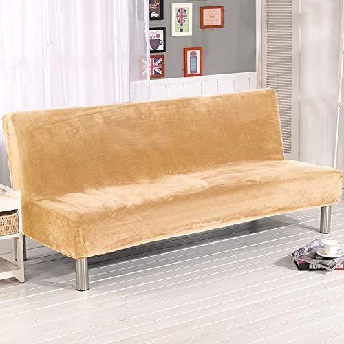 D&LE Volltonfarbe Sofa Überwurf, Polyester Elasthan Stretch Sofabezug All-Inclusive Plüsch Passt Falten Schlafsofa Ohne armlehnen-Gelb 2-4 Sitzer 180-210cm