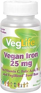 VegLife Vegan Iron 25 mg | Plus Vitamin C, Folic Acid, B-12 and VegiBlend Food Base | Plant Based Iron Supplement for Wome...