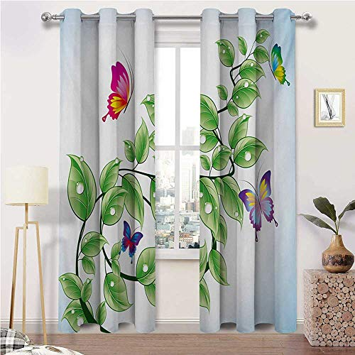 "igoga sports Window Curtain Panel Nature Light Block Privacy Protect Window Drapery Floral Theme Branch with Leaves Butterflies and Drops of Water Pattern 2 Grommet Curtain Panels, 38"" W x 45"" L"