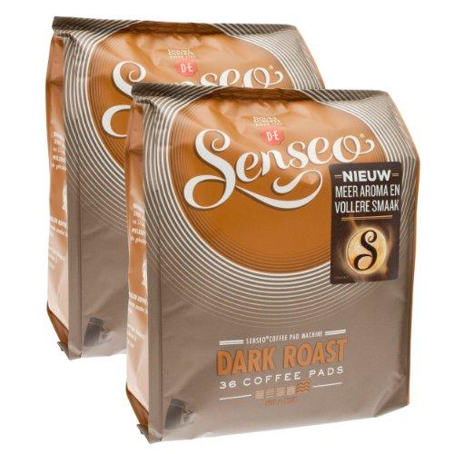 Senseo Dark Roast, New Design, Pack of 2, 2 x 36 Coffee Pods