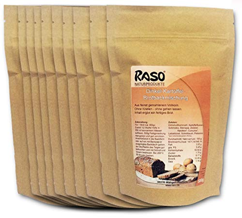 Notvorrat Mehl 5 Kg- VERSANDKOSTENFREI - 10x500g bewährte RASO Naturprodukte DAS ORIGINAL Rezeptur Brotbackmischung Dinkel - Kartoffel mit Kurkuma Ohne Kneten, ohne gehen lassen