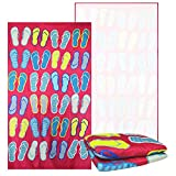 Beach Towel for Kids, Hot Pink with Colorful Flip Flops Design, Oversized Classic Towels, Quick Dry Absorbent, 6 Feet, 100% Polyester