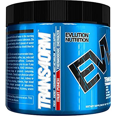 Evlution Nutrition Trans4orm Thermogenic Energizing Fat Burner Supplement, Increase Weight Loss, Energy and Intense Focus, 30 Servings (Fruit Punch)