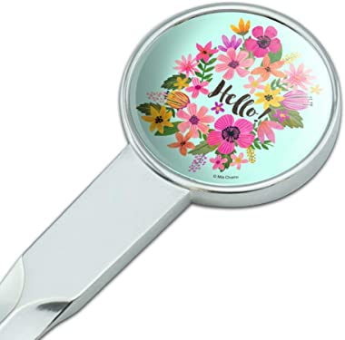 Hello with Pretty Flowers Classic Chrome Plated Metal Envelope Letter Opener Slitter