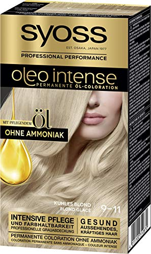 Syoss Oleo Intense Permanente Öl-Coloration 9-11 Kuehles Blond, mit pflegendem Öl & ohne Ammoniak, 3er Pack(3 x 115 ml)