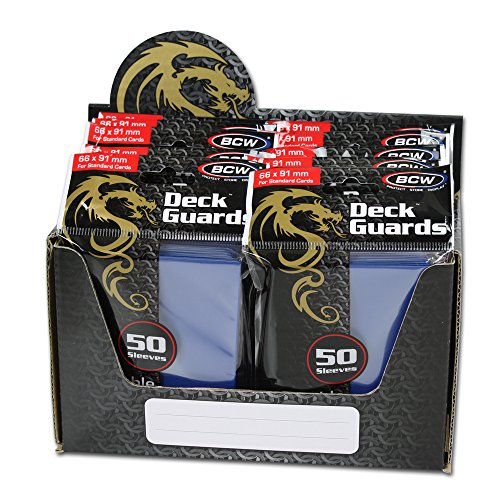 BCW 500 Count Deck Guard BLUE MATTE Finish for Stardard Size Collectable Cards - Deck Protector Sleeves [Display Bundle - 10 Packs]