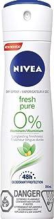 Nivea Fresh Pure 0% Aluminum 48H Dry Spray (150 mL) Deodorant for Women, Effective 48H Odour Protection, Fresh Fragrance, ...