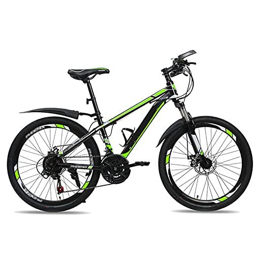 HUAQINEI Bicicleta para niños Bicicleta de montaña, 24 Pulgadas Bicicleta de 21 velocidades Suspensión Completa Engranajes Frenos de Doble Disco Bicicleta de montaña, C