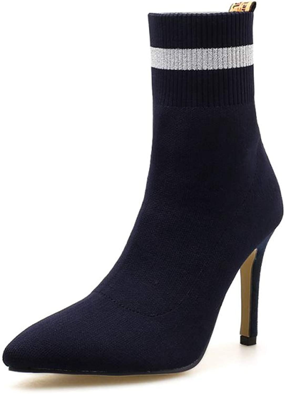 SENERY Women Winter Ankle Boots Stilettos High Heel Sexy Knitting Wool Thin High Heels Wedding Booties