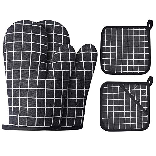 Win Change Oven Mitts and Potholders BBQ GlovesOven Mitts and Pot Holders with Recycled Cotton Infill Silicone NonSlip Cooking Gloves for Cooking Baking Grilling 4Piece SetBlack