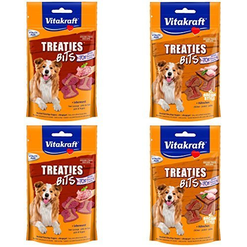 Vitakraft Snack para perro Asesoramiento Brocas Salchicha de Hígado, Pollo - 4 x 120 g