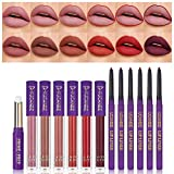 UCANBE 13pcs Lady's Night Lipstick Makeup Set, 6 Velvety Matte Liquid Lipsticks + 6 Matching Smooth Lipliner Pencil + 1 Moisturizing Lip Gloss Primer, Waterproof Long Lasting Lip Make Up Gift Kit