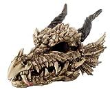 Ebros Gift Large Oversized Dragon Skeleton Fossil Skull With Horns Statue 27' Long Mighty Grendel Resin Home Decor Figurine Dungeons And Dragons Ossuary Gothic Drake Skulls Halloween GOT LOTR