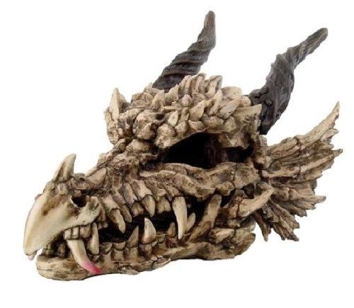 Ebros Gift Large Oversized Dragon Skeleton Fossil Skull With Horns Statue 27