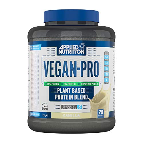 Applied Nutrition Vegan Pro Plant Based Protein Blend Powder Supplement Low Fat & Sugar Natural Flavour & Colour with Essential Amino Acids 2.1kg - 70 Servings (Vanilla)