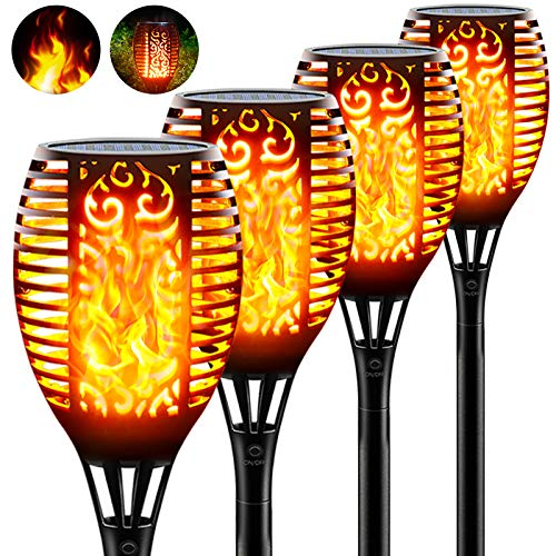 Lruxacy 96 LED Solar Flammenlicht, 4 Stück Gartenfackel Solar Flamme IP65 Wasserdicht Solarlampe Gartenfackeln mit Realistischen Flammen Automatische Ein/Aus für Hinterhöfe, Gärten, Hof, Balkon(96LED)