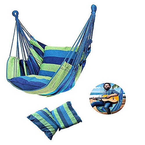 K-DD Portable Hanging Chair Hammock,Hanging Rope Chair Swing Chair Seat with Cushion for Travel Camping Garden Indoor Outdoor/Patio/Yard