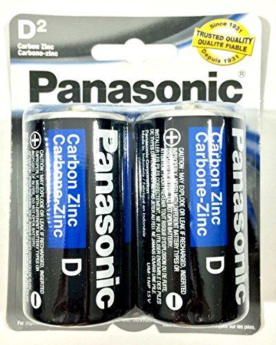 2Pc Size D Panasonic Batteries Super Heavy Duty Power Zinc Carbon