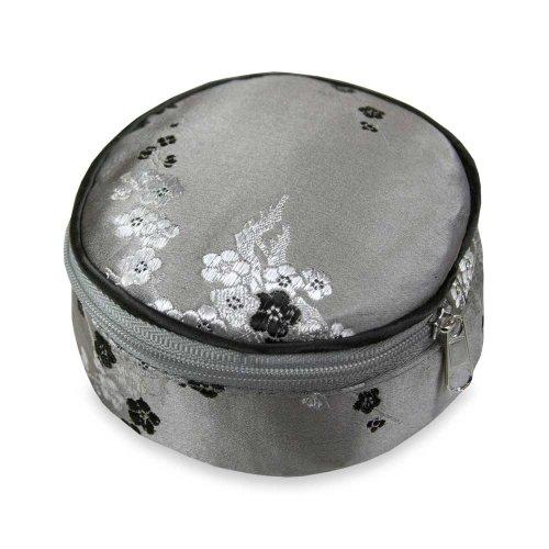 Travel Jewelry Case - Silk Brocade (Cherry Blsm Gray)