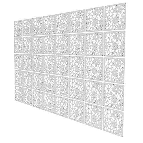 Biombos Paneles de 40 Piezas - 147x235.5cm - Blanco Panel Separador Patrón De Calado Paneles Divisores De Ambientes para Estantes Y Escritorios