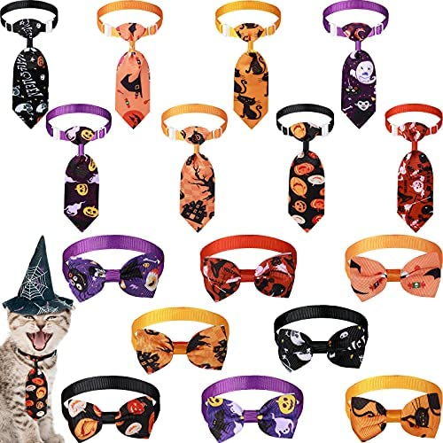 16 Pieces Halloween Dog Tie and Bow Tie Collar...