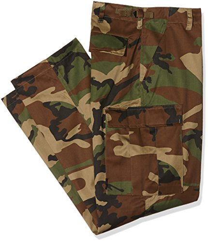 Mil-Tec US BDU Woodland Camouflage Combat Trousers, Size- Large (36/38 inch)