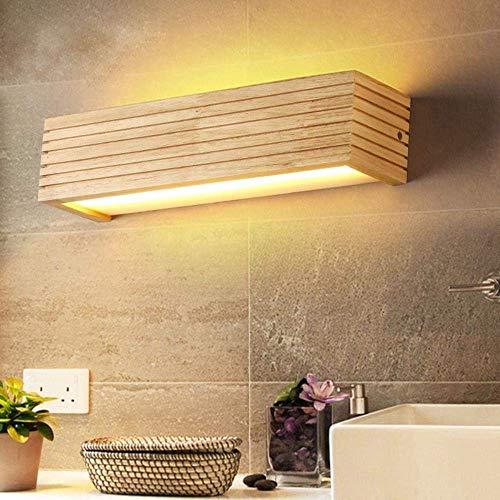 Meixian Wandlamp, moderne houten wandlamp, badkamerspiegel, lamp, hal, wandlamp, bedlicht, Nordic Home verlichting, vintage wandlamp, 35x9x8 cm, 6W, koel wit, 5500-7000K, eenvoudig retro