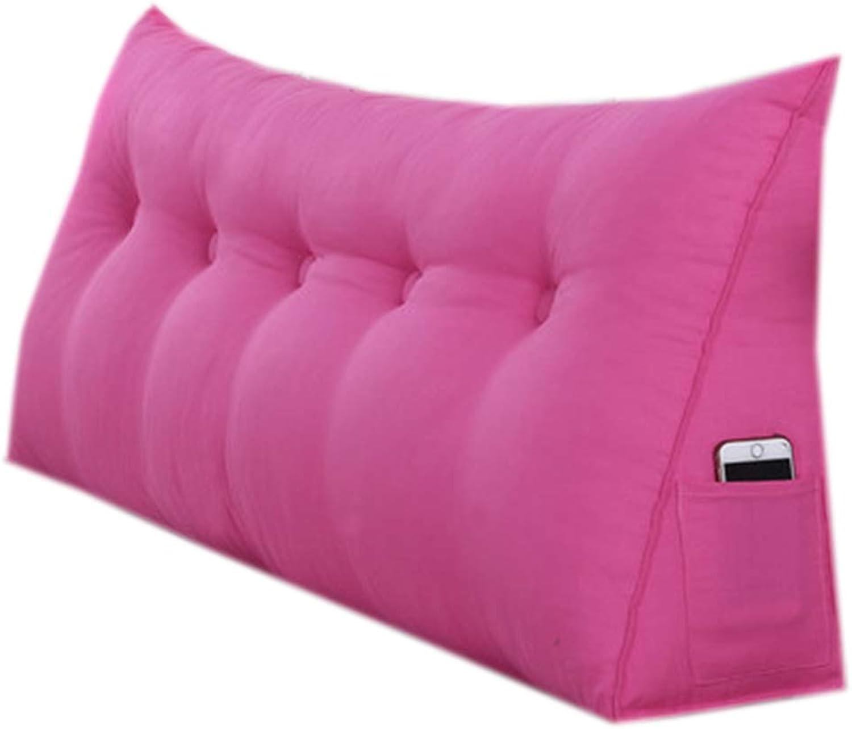 JYW-kaodian Tête De Lit Coussin Wedge PilFaible Housses De Coussins Oreiller,Bedside Back Pad Soft Case Bed Wedge Bedroom Facile à démonter, 4 Couleurs, 7 Tailles,rose,70  50  20cm