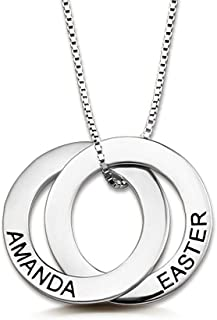 RESVIVI Sterling Silver Personalized Russian Ring Name Necklace Custom Made Any Name Pendant Necklace