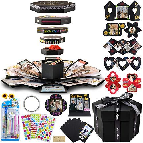 Vienrose DIY Foto Box Überraschungsbox Fotoalbum zum Selbstgestalten Scrapbook Geschenk Kreative Explosion Box für Hochzeit Valentinstag Geburtstag Jahrestag
