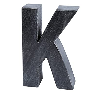 Creative Home 74879 Natural Black Marble Stone Marble Letter K, Bookends