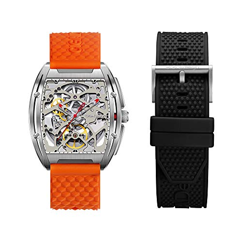 CIGADesign Skeleton Watch Automatic Mechanical Stainless Steel Replica Tonneau Case Casual Wristwatch Waterproof Sapphire Crystal Silicone Strap for Men Unisex