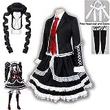 Yasuhiro Taeko Disfraz de cosplay Danganronpa Celestia Ludenberg Pelucas Mujer Lolita Uniforme Falda de Halloween Vestido de fiesta Onesies (Color: peluca y disfraz, tamaño: XXL)