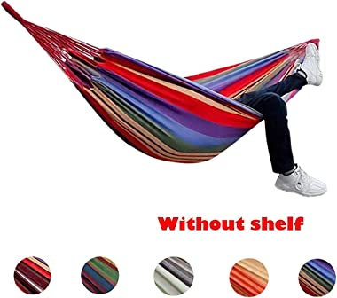 260x150cm 2 People Outdoor Canvas Camping Hammock Bend Wood Stick Steady Garden Swing Hanging Chair