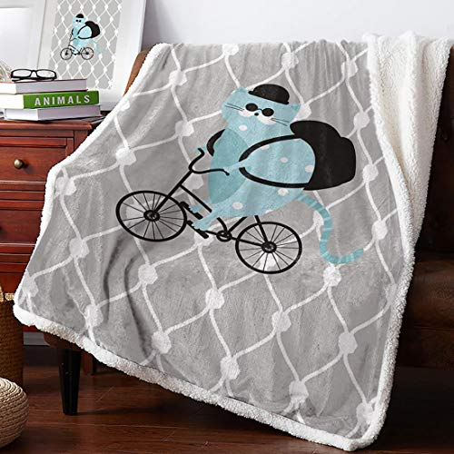 Geometric Cartoon Cat Bicycle Portable Car Travel Cover Blanket Cozy Plush Throw Blanket Best Winter Birthday Gift for Kids Son Daughter (47x35, 60x45, 70x53, 80x60 Inches)