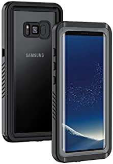 Lanhiem Galaxy S8+ Plus Case, IP68 Waterproof Dustproof Shockproof Case with Built-in Screen Protector, Full Body Sealed Underwater Protective Cover for Samsung Galaxy S8 Plus (Black/Gray)
