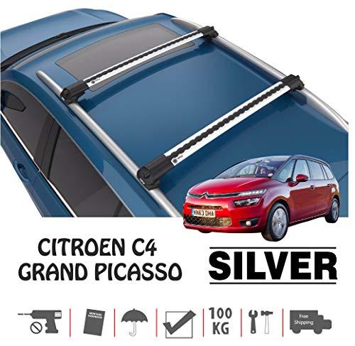 TURTLE Citroen C4 Grand Picasso - Barra para Techo de Coche, Color Plateado