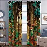 Owl Room - Cortina de aislamiento oscurecida con ojales, diseño de búhos en el castaño, diseño de sagrario, color blanco