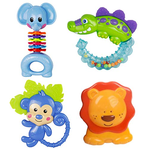 Great Price! Boxgear - 4Pcs Baby Rattles Teethers, Shaker Grab, and Spin Rattles Set, with Storage B...